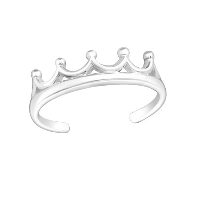 Silver Crown Adjustable Toe Ring