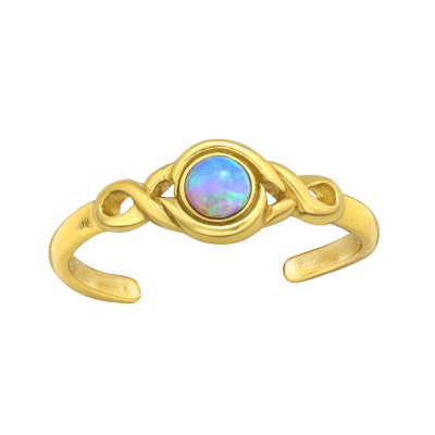 Silver Patterned Adjustable Toe Ring with Synthetic Opal
