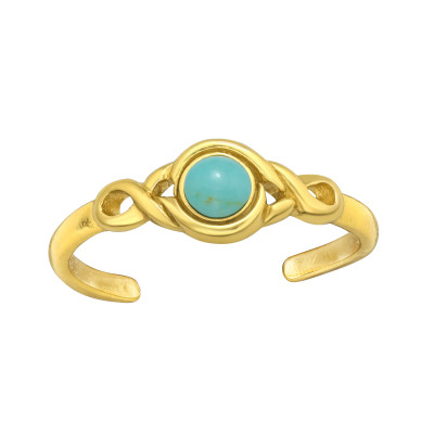 Silver Round Adjustable Toe Ring with Imitation Turquoise