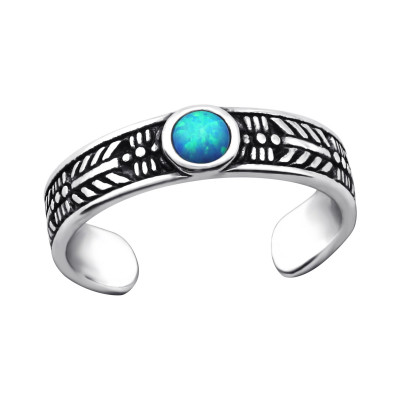 Silver Round Adjustable Toe Ring with Opal