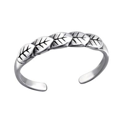 Silver Leaf Adjustable Toe Ring