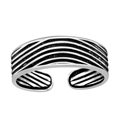 Silver Curved Lines Adjustable Toe Ring