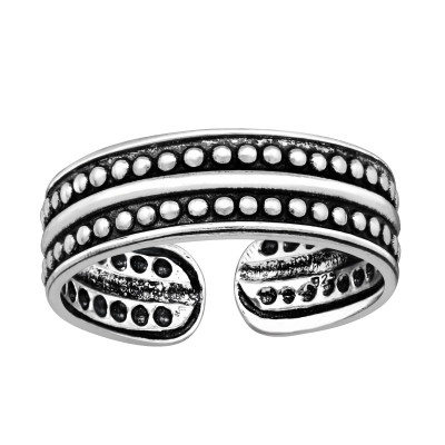 Silver Parallel Dots Adjustable Toe Ring