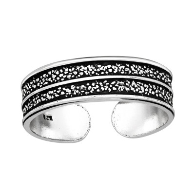 Silver Grainy Texture Adjustable Toe Ring