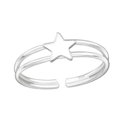 Silver Star Adjustable Toe Ring