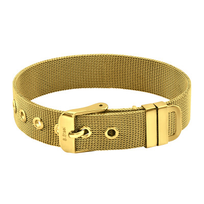 Gold Surgical Steel Belt Buckle Mesh Bracelet for Women