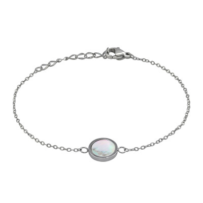 High Polish Surgical Steel Round bracelet for Women with Imitation Stone