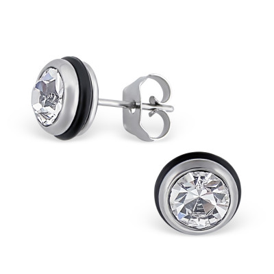 High Polish Surgical Steel Round Ear Studs with Crystal
