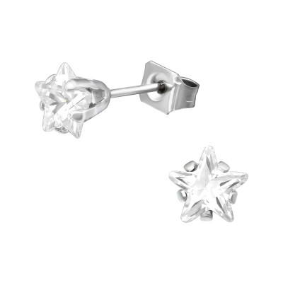High Polsh Surgical Steel Star 6mm Ear Studs with Cubic Zirconia