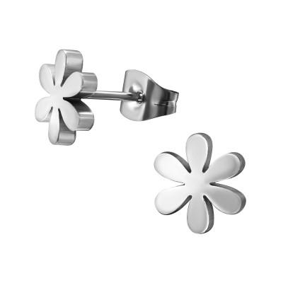 High Polish Surgical Steel Flower Ear Studs