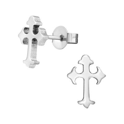 High Polish Surgical Steel Cross Ear Studs