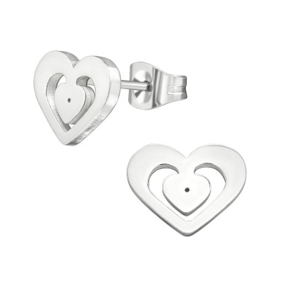 High Polish Surgical Steel Heart Ear Studs