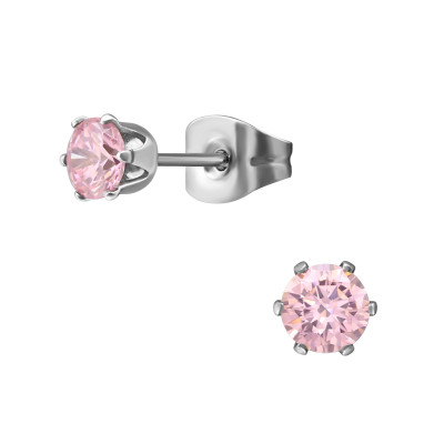 High Polish Surgical Steel Round 4mm Ear Studs with Cubic Zirconia