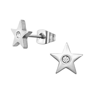 High Polish Surgical Steel Star Ear Studs with Crystal