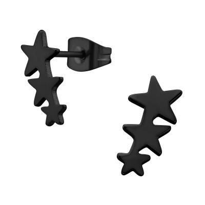 Black Surgical Steel Triple Star Ear Studs