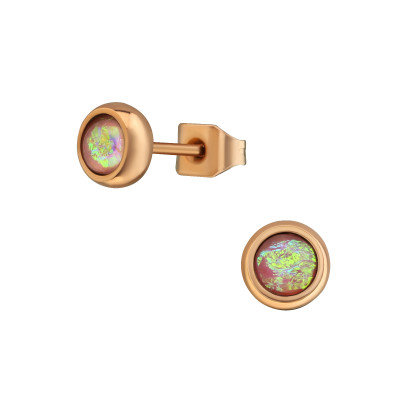 Rose Gold Surgical Steel Round 5mm Ear Studs with Synthetic Opal
