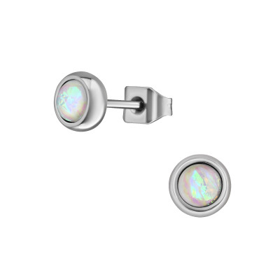 High Polish Surgical Steel Round 5mm Ear Studs with Synthetic Opal