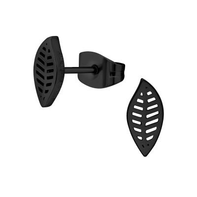 Black Surgical Steel Leaf Ear Studs