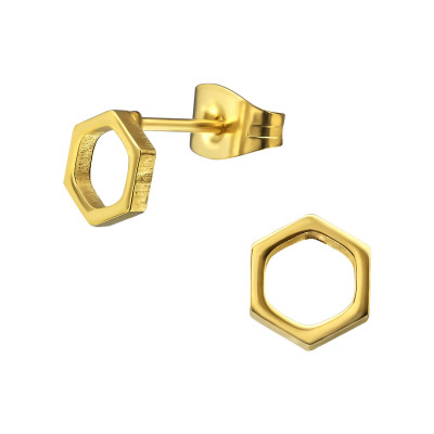 Gold Surgical Steel Hexagon Ear Studs