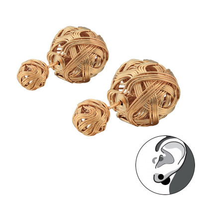 Rose Gold Surgical Steel Knot Double Earrings