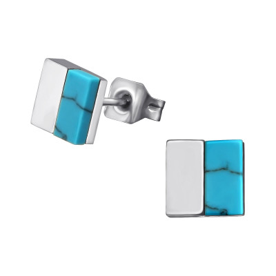High Polish Surgical Steel Square Ear Studs with Imitation Turquoise