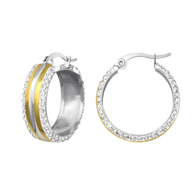 High Polish and Gold Surgical Steel Two Tone Hoop with Crystal