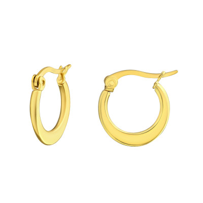 Gold Surgical Steel Flat 15mm Hoops