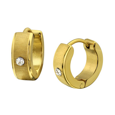 Gold Surgical Steel Huggies with Crystal