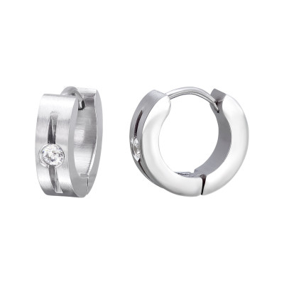High Polish Surgical Steel Round Huggies with Cubic Zirconia
