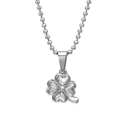 High Polish Surgical Steel Lucky Clover Necklace