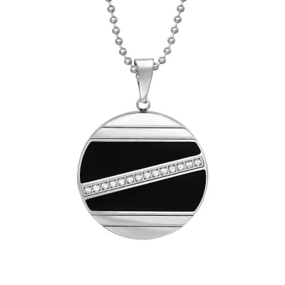High Polish Surgical Steel Round Necklace with Cubic Zirconia and Epoxy