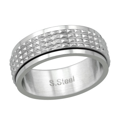 High Polish Surgical Steel Patterned Spinner Ring