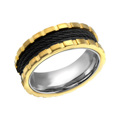 Gold, Black and High Polish Steel Band Ring