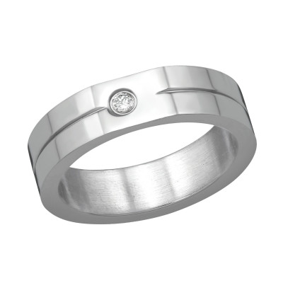 High Polish Surgical Steel Single Stone Ring with Cubic Zirconia