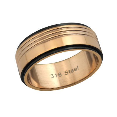 Rose Gold and Black Surgical Steel Two Tone Ring