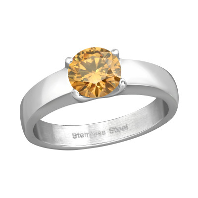 High Polish Surgical Steel Solitaire Ring with Cubic Zirconia