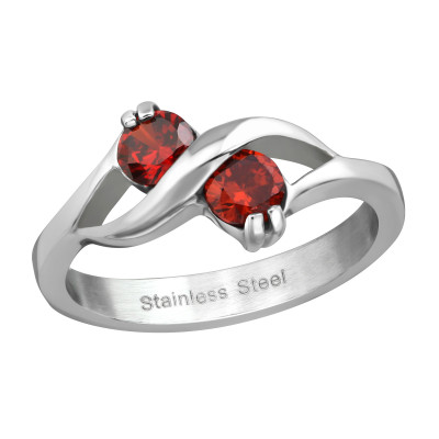 High Polish Surgical Steel Double Round Ring with Cubic Zirconia