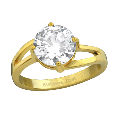 Gold Surgical Steel Solitaire Ring with Cubic Zirconia