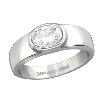 High Polish Surgical Steel Oval Ring with Cubic Zirconia