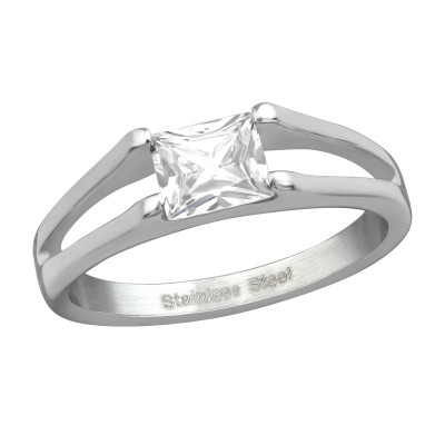 High Polish Surgical Steel Square Ring with Cubic Zirconia