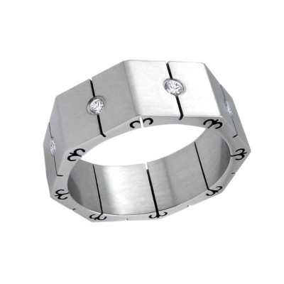 High Polish Surgical Steel Band Ring with Crystal