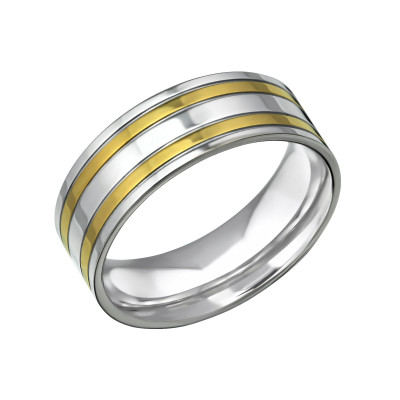 High Polish and Gold Surgical Steel Band Ring