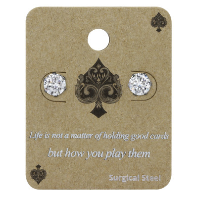 High Polish Surgical Steel Round 6mm Ear Studs with Cubic Zirconia on Display Card