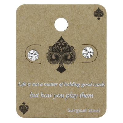 High Polish Surgical Steel Round 5mm Ear Studs with Crystal on Display Card