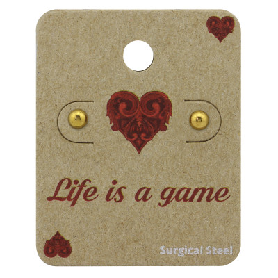 Gold Surgical Steel Ball 4mm Ear Studs on Life is a game Card
