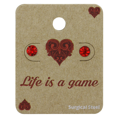 High Polish Surgical Steel Round 5mm Ear Studs with Crystal on Life is a game Card