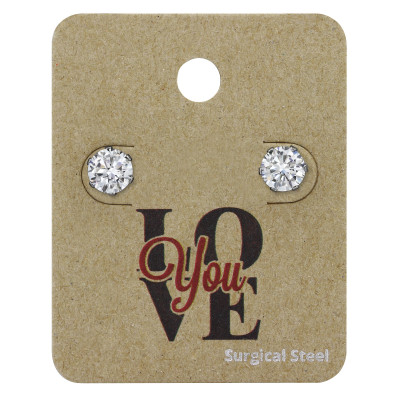 High Polish Surgical Steel Round 6mm Ear Studs with Cubic Zirconia on LOVE You Card