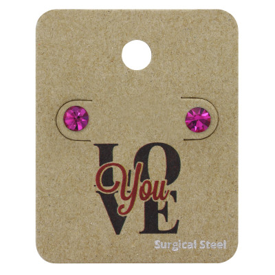 High Polish Surgical Steel Round 5mm Ear Studs with Crystal on LOVE You Card