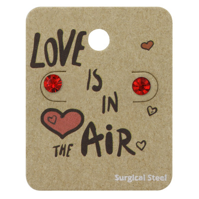 High Polish Surgical Steel Round 5mm Ear Studs with Crystal on Love is in the Air Card