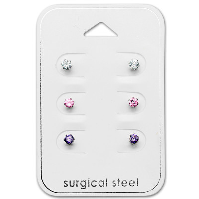 High Polish Surgical Steel Round 3mm Set with Cubic Zirconia on Card